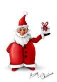 Weihnachtsmann mit dem Geschenk getrennt auf Weiß lizenzfreie abbildung
