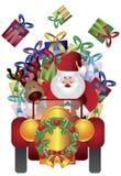 Weihnachtsmann mit dem Ren, das Abbildung antreibt Lizenzfreie Stockbilder