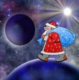 Weihnachtsmann mit dem Sack von Geschenken geht Stockfoto