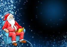 Weihnachtsmann mit dunkelblauem Hintergrund Stockfoto
