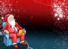 Weihnachtsmann mit dunkelrotem blauem Hintergrund Stockfotografie