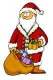 Weihnachtsmann mit einem Beutel voll von den Geschenken Lizenzfreies Stockfoto