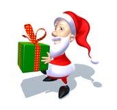 Weihnachtsmann mit einem Geschenk vektor abbildung