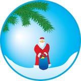 Weihnachtsmann mit einem Geschenk lizenzfreie abbildung