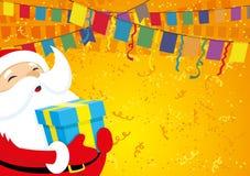 Weihnachtsmann mit einem Geschenk Stockfotos