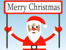 Weihnachtsmann mit einem Glückwunschplakat Stockbilder