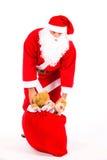 Weihnachtsmann mit einem großen Beutel Stockfotos