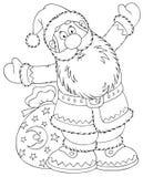 Weihnachtsmann mit einem Spielzeugsack stock abbildung
