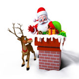 Weihnachtsmann mit Elfen im Kamin Lizenzfreies Stockfoto