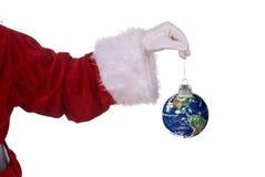 Weihnachtsmann mit Erde ornamen Stockbild