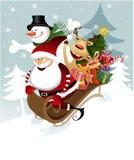 Weihnachtsmann mit Freunden Lizenzfreies Stockbild