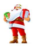 Weihnachtsmann mit Geschenk Lizenzfreie Stockfotografie