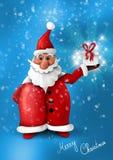 Weihnachtsmann mit Geschenk auf blauem Hintergrund lizenzfreie abbildung