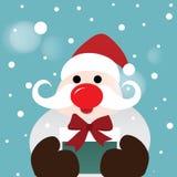 Weihnachtsmann mit Geschenk-Kasten stock abbildung