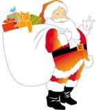 Weihnachtsmann mit Geschenk-Sack Stockbilder