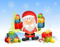 Weihnachtsmann mit Geschenken Lizenzfreies Stockbild