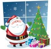 Weihnachtsmann mit Geschenken unter Weihnachtsbaum Lizenzfreie Stockfotos