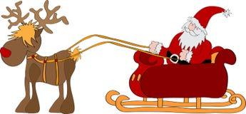 Weihnachtsmann mit Pferdeschlitten stock abbildung
