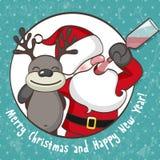 Weihnachtsmann mit Ren stock abbildung