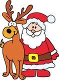 Weihnachtsmann mit Ren Stockfoto