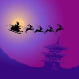 Weihnachtsmann mit Renen stock abbildung