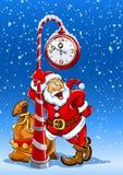 Weihnachtsmann mit Sack Geschenken unter Borduhr Stockbild