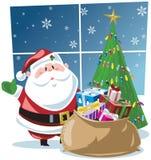 Weihnachtsmann mit sackful der Geschenke und des Baums Stockfotos