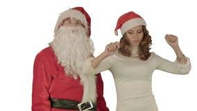Weihnachtsmann mit schöner Tänzerin auf weißem Hintergrund stockbild