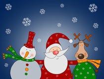 Weihnachtsmann mit Schneemann und Ren Stockfotografie