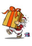 Weihnachtsmann mit sehr großem Geschenk Stockbild