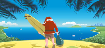 Weihnachtsmann mit Surfbrett Stockfoto