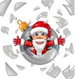 Weihnachtsmann mit Weihnachtsball Stockbild