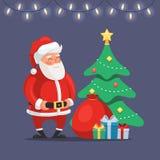 Weihnachtsmann mit Weihnachtsbaum lizenzfreie stockbilder