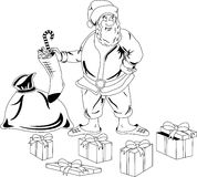 Weihnachtsmann mit Weihnachtsgeschenken Stockbild