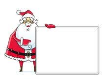 Weihnachtsmann mit Zeichen Stockfotografie