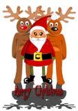 Weihnachtsmann mit zwei Renen Stockfotos