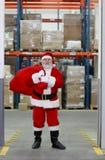 Weihnachtsmann nach dem Einkaufen betriebsbereit zum Weihnachten stockbilder