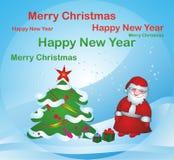 Weihnachtsmann nahe Weihnachtsbaum vektor abbildung