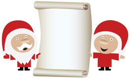 Weihnachtsmann-Paare, die eine Rolle des unbelegten Papiers anhalten Lizenzfreie Stockbilder