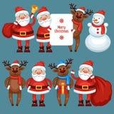 Weihnachtsmann-Ren und -Schneemann Stockfoto