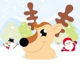 Weihnachtsmann, Ren und Schneemann auf Schnee mit Schneeflockenweihnachten lizenzfreie stockfotografie