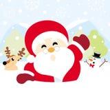 Weihnachtsmann, Ren und Schneemann auf Schnee mit Schneeflockenweihnachten lizenzfreie stockbilder