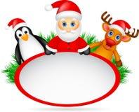 Weihnachtsmann, Rotwild und Pinguin mit leerem Zeichen stock abbildung