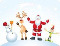 Weihnachtsmann, Rudolph, Elf und Schneemann Lizenzfreies Stockfoto