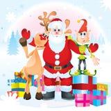 Weihnachtsmann, Rudolph und Elf Lizenzfreies Stockbild