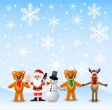 Weihnachtsmann, Schneemann und Tiere, Stand an zum Schnee Lizenzfreie Stockfotos