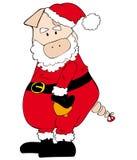 Weihnachtsmann-Schwein mit Bell. lizenzfreie stockfotos
