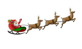Weihnachtsmann in seinem Pferdeschlitten Lizenzfreies Stockbild