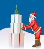 Weihnachtsmann setzt Kästen mit Geschenken unter Pelzstift Stockfotos