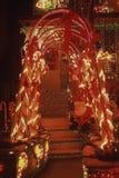 Weihnachtsmann-Sitz auf stears. Stockfotos